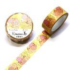 Kimono美 雪輪梅丸 マスキングテープ 15mm / 和風 和柄 春柄 梅 縁起物 友禅 箔押し 着物 日本製