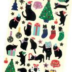 クリスマスペーパーシール CMS-537 / 黒猫 ネコ ツリー 可愛い Christmas 箔押し加工 デコ