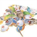 大人の図鑑 シールフレーク 鳥類 / 鳥グッズ カミオジャパン フレークシール 金箔押し 和紙素材