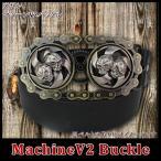 マシーンV2バックル スカル メタルバックル ベルト カスタム ウエスタン アメカジ ロック アメリカン エンジンベルト ドクロ チャンピオンバックル