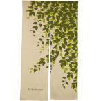ショッピングのれん のれん 暖簾 ロング 85×150 リーフ柄 綿 麻 可愛い おしゃれ グリーン 間仕切り NSリーフ ぽっきり