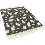 ショッピングブランケット 毛布 ブランケット シングル 猫柄 140×200 ブラック