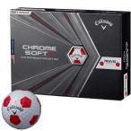 2020年モデル  キャロウェイ CHROME SOFT X TRUVIS クロム ソフト エックス トゥルービス ゴルフボール 1ダース 12球入り  ホワイト レッド