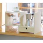 食器棚 | 卓上 本棚/調味料ラック (約幅26〜46.5×奥行25×高さ29cm) 引出し付き 日本製 『カウンターラック』 (ダイニング キッチン)