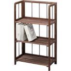 ショッピングシェルフ 収納棚(フォールディングシェルフ3L) 木製 3段 幅50cm LFS-363BR ブラウン
