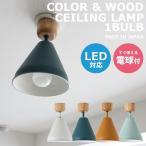 シーリングライト LED おしゃれ 北欧 カフェ キッチン レトロ ヴィンテージ 天井照明 電球付き アルミ COLOR & WOOD 1灯