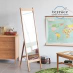 ショッピングスタンド スタンドミラー 姿見 鏡 ミラー 木枠 玄関用 全身鏡 天然木 木製 ナチュラル TERRACE 送料無料