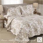 ベッドカバー キング 3点セット ローラアシュレイ ベージュフラワー ベッドキルト ベッドスプレッド 花柄
