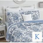 ベッドカバー おしゃれ キング 3点セット ローラアシュレイ ブルーフラワーベッド キルト ベッドスプレッド 花柄