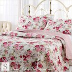 ベッドカバー シングル 2点セット  おしゃれ ローラアシュレイ  ピンクローズ ベッドキルト 花柄 ベッドスプレッド