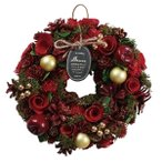 クリスマスリース ドリームレッド M リース クリスマス 冬リース 造花リース 花輪 ナチュラルリース 26cm 冬色カラー 壁飾り 壁掛け 赤 緑 おしゃれ
