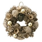 クリスマスリース ゴールデンメリー M リース クリスマス 冬リース 造花リース 花輪 ナチュラルリース 23cm 冬色カラー 壁飾り 壁掛け 大人 ゴールド おしゃれ