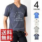 送料無料 マリンプリント Vネック 杢 半袖 Tシャツ メンズ 通販M《M1》
