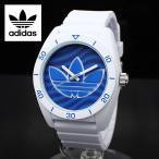 ショッピングラッピング ADIDAS アディダス 腕時計 スポーツウォッチ ミドルサイズ ホワイト×ブルーウェイブ SANTIAGO サンティアゴ ADH3195 白 青 ボーイズサイズ