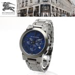 【安心2年保証・サイズ調整無料】バーバリー BURBERRY 男性用 腕時計 BU9365 CITY シティ クロノグラフ 42mm ダークグレー  ブルー  メンズウォッチ カレンダー