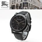 【安心2年保証】バーバリー BURBERRY 男性用 腕時計 BU9906 CITY シティ 42mm ブラック 黒色 チェック柄 ブラックレザー アナログ メンズウォッチ カレンダー