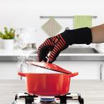 XL 耐熱性BBQ&オーブングローブ (耐熱温度500度) 手袋2枚セット (両手用)