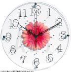 掛け時計/TICKAWAY アートフラワークロック レッド(ウォールクロック/掛け時計 北欧/オシャレ/おしゃれ/新築祝い/造花/ガラス)