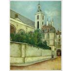 複製画 送料無料 絵画 油彩画 油絵 模写モーリス・ユトリロ「ブラン・マントーの教会」F15(65.2×53.0cm)プレゼント 贈り物 名画 オーダーメイド 額付き 直筆