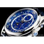 ブルー&シルバー上級「ムーンフェイズ 」本革ベルトローマ数字インデックス100m防水タキメーター腕時計