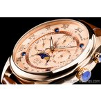 ショッピングピンクゴールド ピンクゴールド上級「ムーンフェイズ 」本革ベルトローマ数字インデックス100m防水タキメーター腕時計