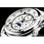 ホワイト&シルバー上級「ムーンフェイズ 」本革ベルトローマ数字インデックス100m防水タキメーター腕時計
