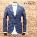 春夏 BOTTEGA MARTINESE Italy製アンコンジャケット 麻綿サマーツイード格子 幅広ラペル ノーパッド気楽 楽ちん 30代40代ダンディー メンズファッション 紳士服