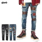 先行予約 グラム パンツ glamb Unplugged leather patch denim