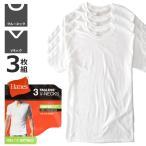 Hanes ヘインズ 半袖Tシャツ メンズ 3Pパック インナーTシャツ クルー Vネック 綿100% 白 ホワイト セール