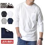 FIRST DOWN ファーストダウン ロンT 長袖Tシャツ 胸ポケット ダブルネック 重ね着風 メンズ