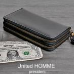 雅虎商城 - ラウンドジップ財布さいふサイフ 財布メンズ長財布 メンズ財布 コードバン財布 ユナイテッドオム 黒ブラック
