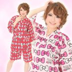 キティリボンキティ 甚平 甚平,部屋着,パジャマ,着物,花火,夏祭り,ハローキティ,キティちゃん,サザック