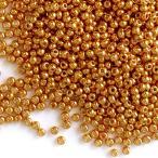 【約10g】丸小ビーズ 2mm ゴールド 金 ガラス製  / 資材 素材 アクセサリー パーツ 材料 ハンドメイド 卸 問屋 手芸