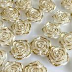 【10個】薔薇モチーフビーズ ホワイト×ゴールド 19*19mm / 資材 素材 アクセサリー パーツ 材料 ハンドメイド 卸 問屋 手芸