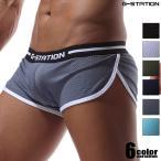 四角裤 - G-Station/ジーステーション カップ付きショートメッシュトランクス メンズ 男性下着 ローライズ パンツ サイドスリットタイプ