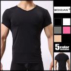 woxuan/ウォーシャン スムースフィット スベスベ サラサラ メンズインナー シンプル 男性下着 薄手 インナーシャツ