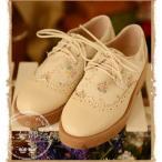 プリント花柄 レディース靴 編上げブーティー ぺたんこヒール 2色 5サイズ