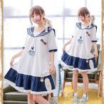 ワーク刺繍裾 刺繍入り セーラー風 半袖ワンピース 白/紺 森ガール