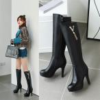 ピンヒールブーツ ジョッキーブーツ 22cm〜26.5cm 防寒ブーツ 長靴 ロングブーツ 大きいサイズ 脚長 ハイヒール 厚底 レディースシューズ 裏起毛 美脚