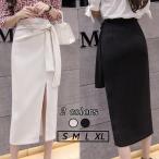 タイトスカート ロングスカート 大きいサイズ レディース ボトムス 送料無料 リボン サイドスリット Aラインスカート イレギュラースカート オフィス