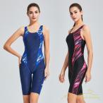 水着 レディース 体型カバー スポーツ スイムウェア フィットネス 水着 袖なし パット付き ワンピース水着 ひざ丈 防水速乾性 水泳 練習用 女性 スイミング