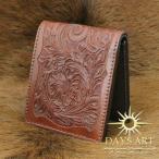 財布 二つ折り財布 メンズ 本革 レザー フラワーカービング レザーウォレット ショートウォレット 牛革