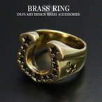 リング ブラス 真鍮 指輪 メンズ レディース ホースシュー ゴールドリング 蹄鉄 馬蹄 スター刻印