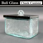 ショッピングアジアン ガラス製 キャニスター バリガラスブルー コスメボックス ワイド BOX ブラック GCT-0208-BK