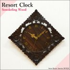 (送料無料) バリ 木彫りリゾート掛け時計 フラワー4輪 WOO-0073  アジアン雑貨 バリ雑貨 壁掛け時計 お祝い 引っ越し祝い プレゼント 新築祝