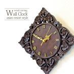 ショッピング壁掛け アジアン 壁掛け時計 ソノクリンウッド フラワー クォーツ時計 WOO-0129 アジアン雑貨 バリ雑貨 花柄