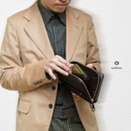 セカンドバッグ 財布 メンズ ダブルファスナー カーボン 日本製 クラッチバッグ AV-M108 AVECALDO アベカルド