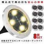 埋め込み式 ソーラー ライト LED 8個セット 4LED 電気代0円 自動点灯 スポットライト 防水対応 ガーデン 玄関 屋外照明 太陽光充電 遊歩道 庭 夜間 8-GADEN-YE