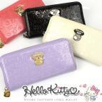 キティ 財布 Hello Kitty エナメル調素材 ラウンドファスナー 長財布 レディース かわいい キャラクター