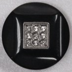 ビジューボタン IV145-N09(黒xニッケルxクリスタル) 18mm (スワロフスキー社製ラインストーン付)  6個入 ボタン 手芸 通販